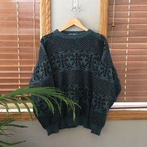 Vintage Patterned Chunky Knit Sweater